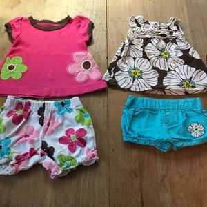 LOT 2 outfits—4 piece total short sleeves & shorts